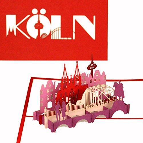 "3D Pop Up Karte\""City Card Köln - Kölner Dom & Kölner Skyline\"", Reisegutschein & Städtetrip Köln, Souvenir 3D Postkarte & Fanartikel"