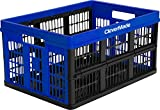 CleverMade CleverCrates 45 Liter Collapsible Storage Bin/Container: Grated Wall Utility Basket/Tote, Royal Blue