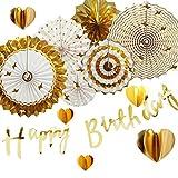 iwlorys 誕生日 飾り付け パーティー デコレーション セット ガーランド ゴールド Happy Birthday ガーランド きらきら ペーパー デコレーション 紙花 装飾 1歲 (ハート ゴールド)