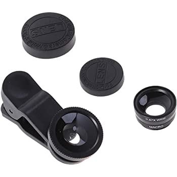 Hemobllo Portable Cell Phone Camera Lens Super Wide Angle Lens Macro Lens Fisheye Lens Clip on 3 in 1 Mobile Phone Lens Compatible for iPhone 6S/7/8/X (Black)