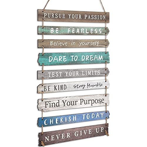 FairySandy Rustic Wall Hanging Plaque Sign Inspirational Wall Art for Your Home Motivational Wooden Decor Inspirational Positive Wall Plaque with Saying Quotes for Home Office Living Room (Green)