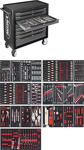 Vigor Werkstattwagen (7 Flache, 1 hohe Schublade, mit 499-teiligem Sortiment) V5434