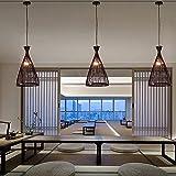 JWCN Tejido bambú Colgante luz Natural Simple Mano Tejida Colgante luz Retro Mimbre Colgante luz Creativo lampara lámpara Colgante ratán lámpara Colgante luz para Comedor Dormitorio-Negro Uptodate