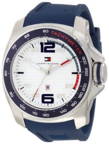 Tommy Hilfiger 1790855 Sport Stainless Steel and Blue Silicone Watch: Watches