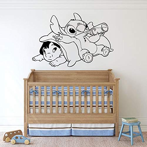 Tianpengyuanshuai Vinyl Kinderzimmer Cartoon Wandtattoo Dekoration nach Hause niedlichen Trinkmilch Muster Wandbild 85X57cm