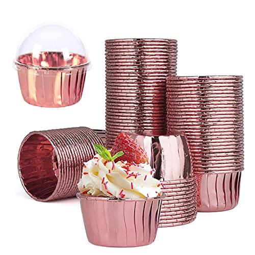 50 Pcs Moldes para Hornear de Papel de Aluminio, Estuches para Cupcakes, Moldes para Mini Cupcakes, para Cupcakes, Cumpleaños, Bodas, Fiestas Navideñas (Con Tapa)