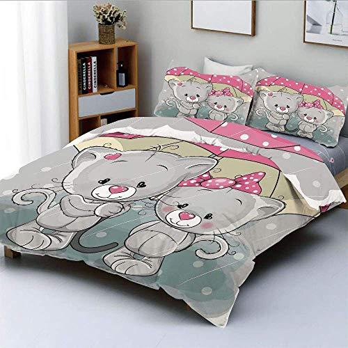 Juego de funda nórdica, gatitos asociados con paraguas bajo la lluvia Cute Couple Love Romance Artsy ImageDecorative Juego de cama de 3 piezas con 2 fundas de almohada, gris rosa blanco, el mejor rega