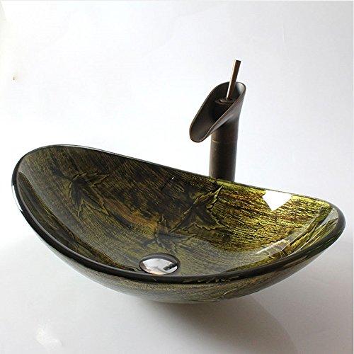 Homelava Modern Gehärtetes Glas Waschbecken mit Ablaufgarnitur, Montagering(Oval)