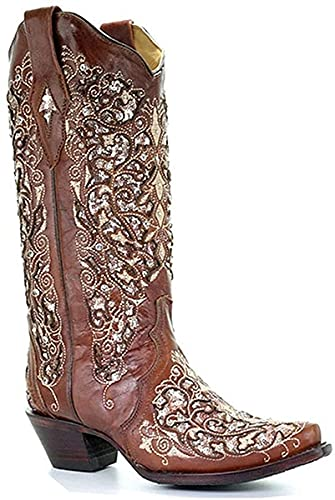 Womens Rhinestone Knee High Western Boots Square Toe Stacked Low Chunky Heeled Cowboy Boot with Pull-Up