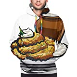 Fritti di patate fritte Mens felpe con cappuccio divertente fresco grafico felpe stampa 3D maniche lunghe abbigliamento casual con grandi tasche Nero 2XL