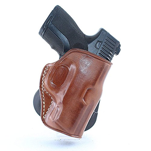 """Premium Leather OWB Paddle Holster with Open Top Fits, Smith Wesson MP Shield with Night Sight 3.1"""" BBL 9mm, Right Hand Draw, Brown Color #1131#"""