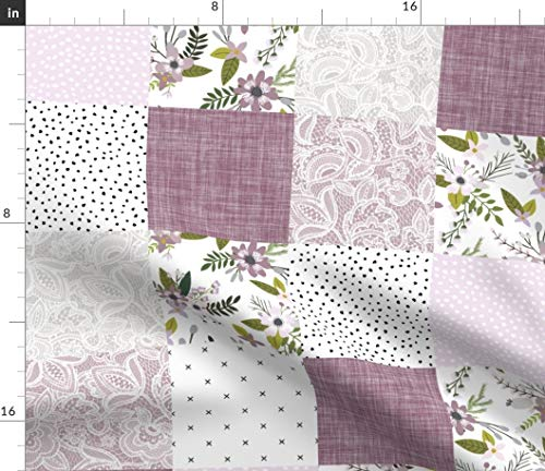 Spoonflower Fabric - Lavender Sprigs Patchwork Wholecloth Baby Quilt Cheater Floral Purple Printed on Petal Signature Cotton Fabric by The Yard - Sewing Quilting Apparel Crafts Decor