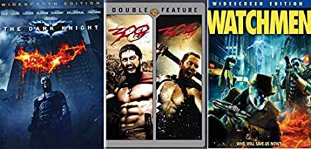 Classic Gritty Comics Come to Life: 300/ 300 Rise Of An Empire & The Dark Knight & Watchmen DVD Bundle Frank Miller Christopher Nolan Zach Snyder Super Hero Super Pack