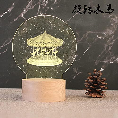 Tatapai Luz de noche 3D Luz de noche Base de madera Lámpara de mesa decorativa Light-Plug_Rotación Trojan
