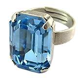 Lily-Crystal [P5156 - Handwerklicher Ring 'Tsarine' türkis aquamarin silberfarben - 18x13 mm.
