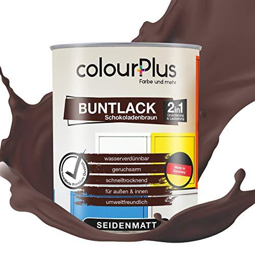 colourPlus® 2in1 Buntlack (750ml, RAL 8017 Schokoladenbraun) seidenmatter Acryllack - Lack für Kinderspielzeug - Farbe für Holz - Holzfarbe Innen - Made in Germany