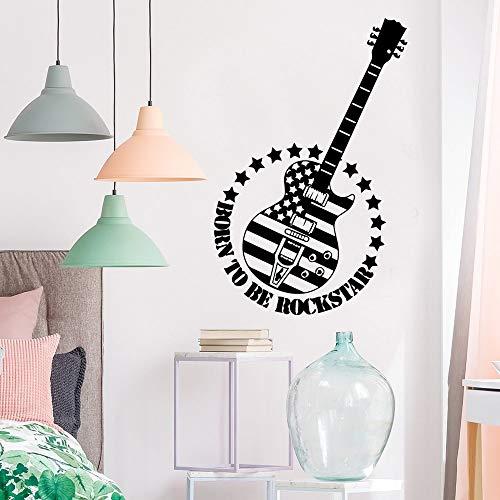 Tianpengyuanshuai Retro gitaar muur art decal decoratie mode stickers woonkamer kinderkamer verwijderbare muurschildering