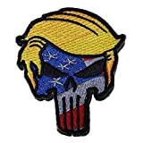 Trump Punisher Skull American Flag Tactical Morale Patch (Velcro or Iron-On) (Velcro)