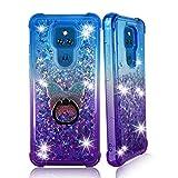 ZASE Moto G Play 2021 Liquid Glitter Sparkle Bling Cute Girls Phone Case Design for Motorola G Play 2021 6.5-inch Floating 3D Butterflies Waterfall Quicksand w/Phone Ring Holder (Gradient Blue Purple)