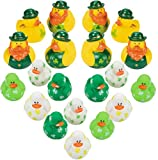 St Patricks Day Mini Rubber Ducks 24 Pack Shamrock Leprechaun Duckies - St. Patrick's Day Gifts for Kids Novelty Toys Party Favors Supplies Accessories