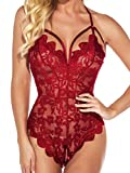 Kaei&Shi Sexy Lingerie for Women,Sheer Lace One Piece High Cut Bodysuit,V Neck Backless Floral Halter Teddy Valentine Plus Size Wine Red X-Large