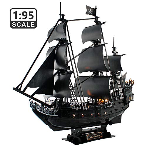 CubicFun 3D Puzzles LED 26.6' Pirate Ship for Adults Sailboat Model Building Kits Hobby Toy, Cool Room Decor Gift for Men Queen Anne's Revenge, Difficult Family Puzzle 340 Pieces
