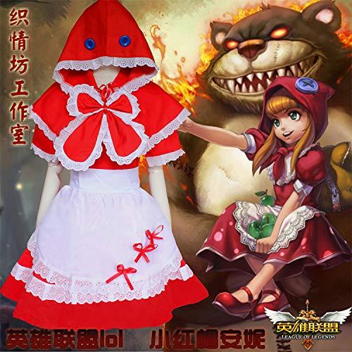 WSJDE League of Legends LOL Caperucita Roja Anne Maid Disfraz Cosplay Disfraz Juego Uniforme Bruja de Halloween