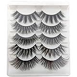 False Eyelashes, 5 Pairs 3D Eyelashes Artificial Natural Black Long Pure Handmade with Invisible Band Reusable (A7)