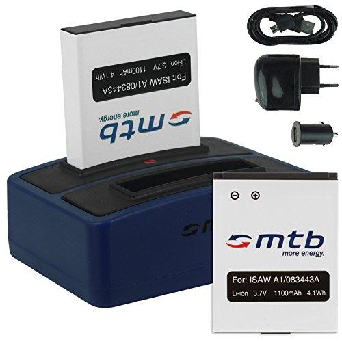 2X Akku + Dual-Ladegerät (Netz+Kfz+USB) für ISAW 083443A / A1, A2 Ace, A3, Advance, Extreme/ACTIONPRO X7