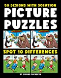 Picture Puzzles: Spot the Differences Book for Kids & Adults, 50 Colorful Cartoon Puzzles of Artworks with Solution - Activity Book. (English Edition)