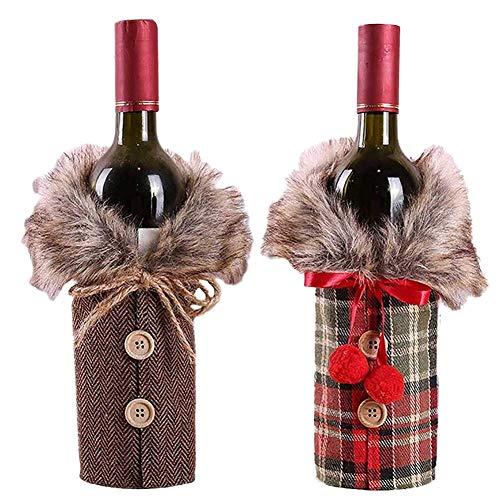 NEYOANN Juego de 2 fundas para botellas de vino, diseño de cuello y botón, botella de vino, suéter y botella de vino, conjuntos de decoración de fiesta de Navidad (estilo A)