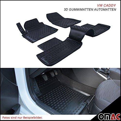 Omac GmbH Allwetter Auto Hohe 3D Gummimatten Fußmatten für Caddy 2015-2020 Automatten Schwarz 4 Teilig