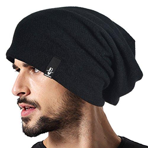 VECRY Männer Baumwolle Schwarze Mütze Slouch Schädel Winter Sommer Hüte