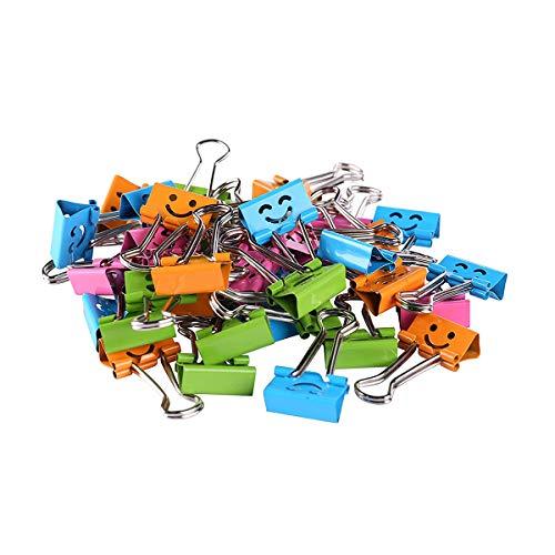 Binder Clips, 40 Stück niedliches Smiley-Gesicht, Metall Foldback-Clips für Büro, Schule, Fotowand, mehrfarbig