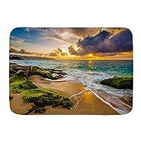 NIESIKKLA バスマット、美しいハワイの夕日、マット滑り止め ソフトタッチ 丸洗い 洗濯 台所 脱衣場 キッチン 玄関やわらかマット 45x 75cm
