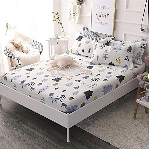 DSman Protector de colchón de Rizo algodón y Transpirable Sábana de algodón Floral transpirable-16_150x200cm