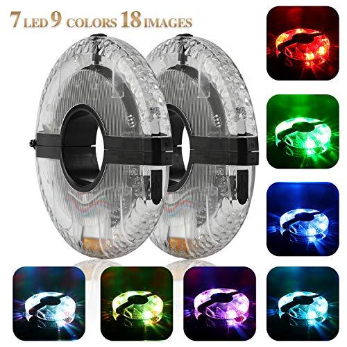 TAGVO Mejorar Ciclismo luz Hub, 7 LED 9 Colores 18 imágenes Impermeable USB Recargable LED Bicicleta Rueda Luces Ciclismo luz Seguridad luz Magia decoración luz Accesorios de Bicicleta Luces