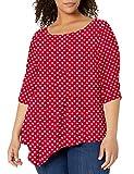 Star Vixen Women's Plus-Size Elbow-Cinch Sleeve Hanky Hem Top, red/White dot, 2X