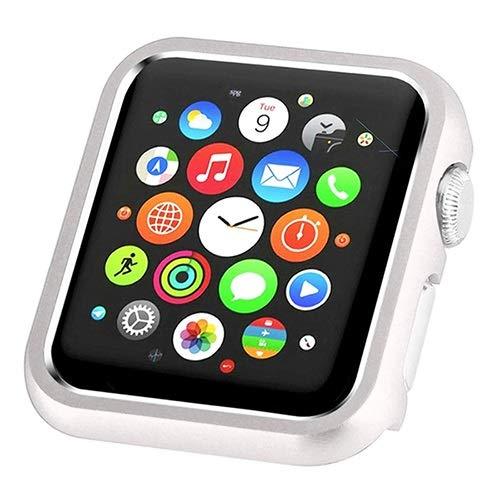 ZLRFCOK Mling - Carcasa de metal duro para Apple Watch Series 1, 2, 3, 4, 42 mm, 38 mm, 40 mm, 44 mm, para el marco de iWatch, color plateado, diámetro de la esfera: serie 123 38 mm)