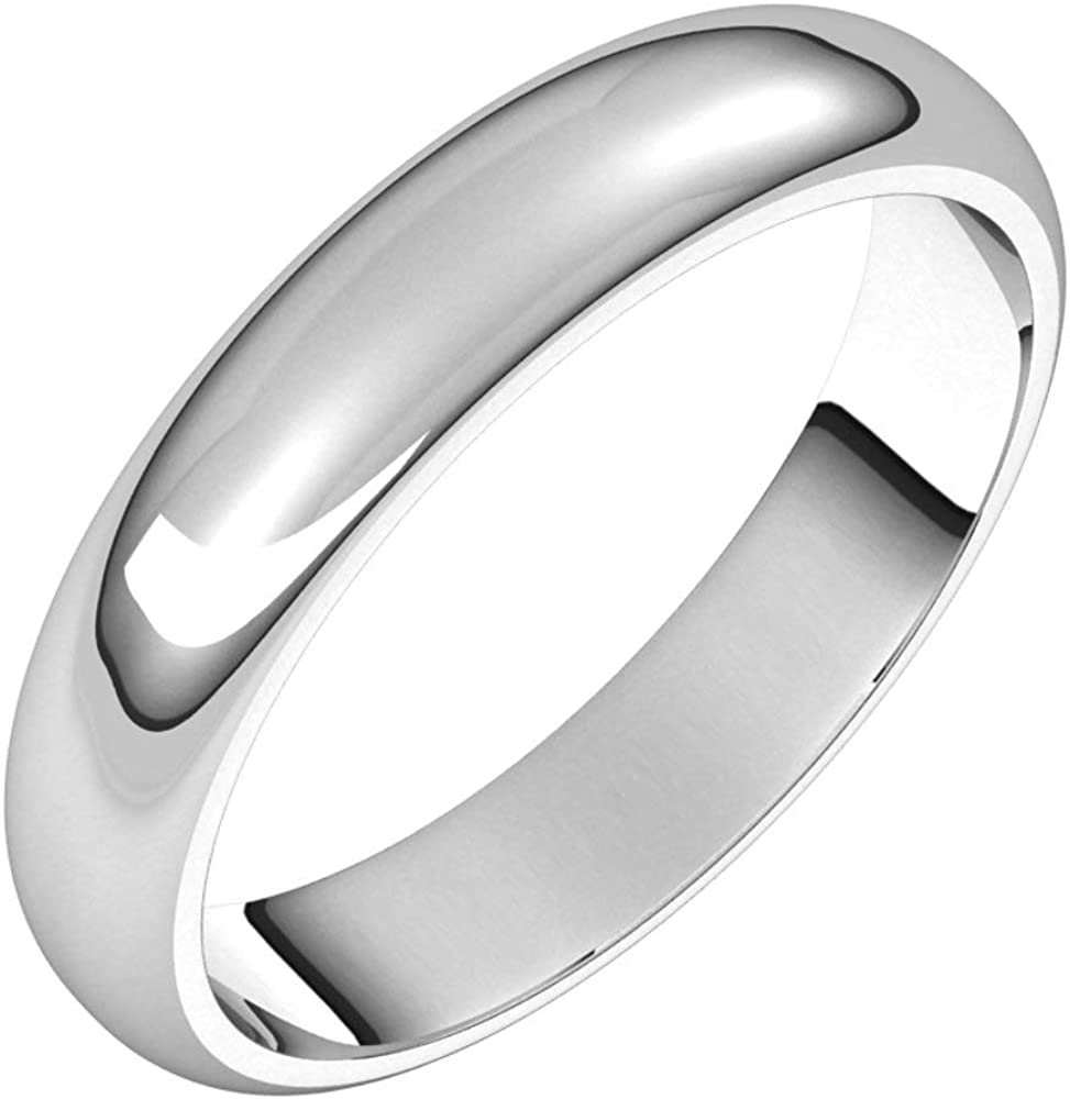 Sterling Silver 4mm Half Round Bridal Band 8 Wedding service Ring Large-scale sale Size
