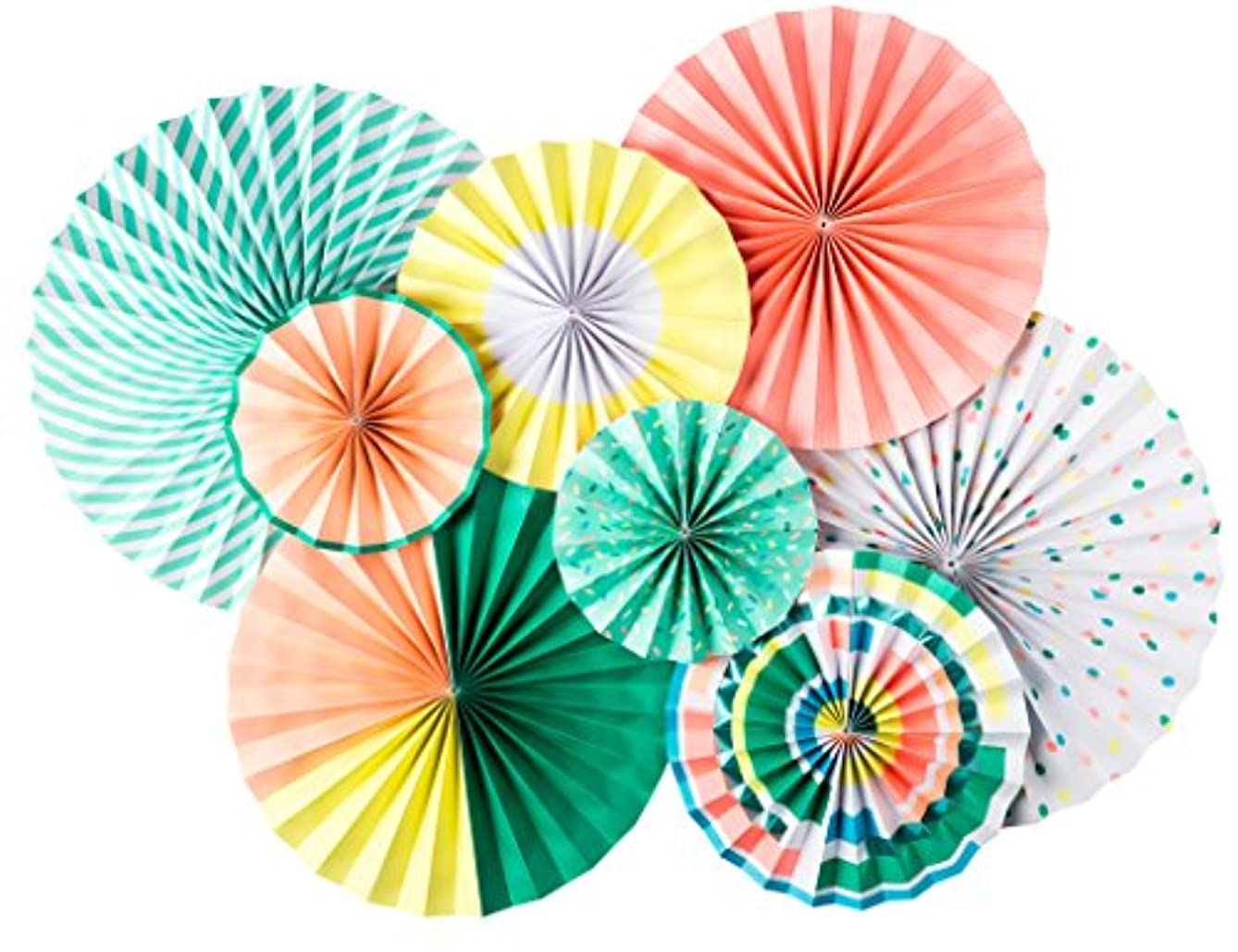 My Mind's Eye - Fancy Double-Sided Neon Paper Party Fans - 8 Count - Decorations