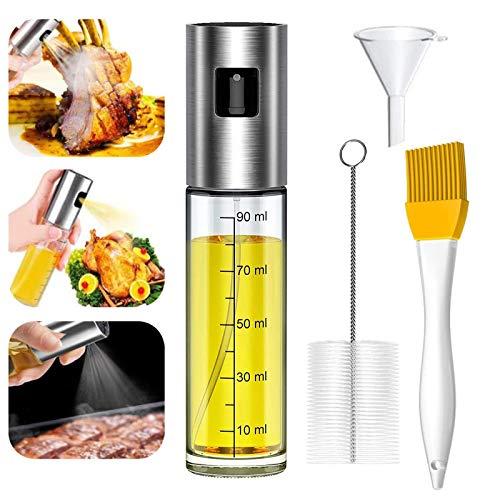 KONEE Pulverizador de Aceite, Dispensador de Aceite de Oliva, Spray Aceite Cocina - con Cepillo de Barbacoa, Cepillo de Limpieza y Embudo, para Cocinar/Ensalada/Hornear Pan/BBQ (100ML)