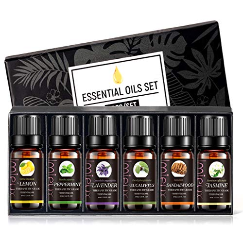 Doublerichad Fragrance Oil Gift Box 6 Natural Scents Organic Essential Oil Sets Lavender Eucalypus Peppermint Lemon Sandawood Jasminefor Diffuser,Skin Spa,Stress Relief ,Beauty(Set05)
