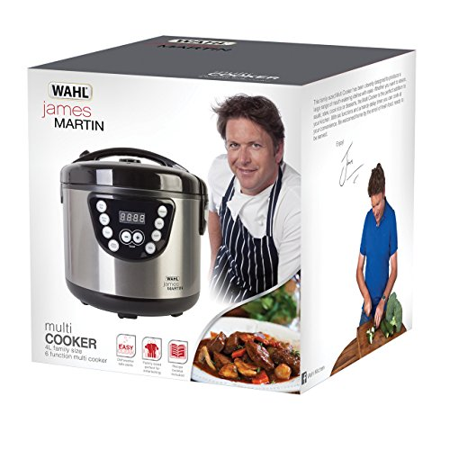 Wahl James Martin Multi Cooker, Steaming, Sautéing, Stewing, Cooking, 24 hrs delay timer, Family sized 4L Capacity, Stainless Steel, 2.68 Kgs, Dishwasher Safe parts
