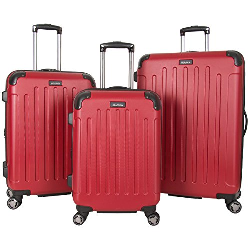Kenneth Cole Reaction Renegade 3-Piece Lightweight Hardside Expandable 8-Wheel Spinner Travel Luggage Set: 20' Carry-on, 24', 28' Suitcases, Red
