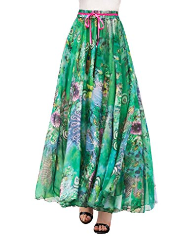 DEBAIJIA Falda Larga Mujer Maxi Bohemia Playa Vacaciones Gasa con Estampado Floral Talla Grande Cintura Elástica Verde - L