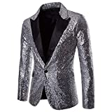 MERICAL Casual One Button Fit Sportiva del Vestito del Rivestimento del Cappotto degli Uomini di Fascino Paillettes Partito Top(scheggia,XL)