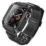 MOBOSI kompatibel mit Apple Watch Armband 44mm Series 6/5/4/SE, Weiche TPU Silikon Ersatz Armbänder mit integrierter Schutzhülle Sportarmband Metallschließe für iWatch 44mm Series 6/5/4/SE (Schwarz)