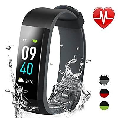 Ulvench Fitness Tracker with Heart Rate Monitor, Color Screen Smart Watch with Sleep Monitor, Calorie Counter Watch, Step Counter, GPS, IP68 Waterproof Pedometer Watch for Kids Women Men (Black Grey)