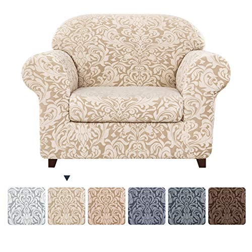 subrtex Sofa Slipcover 2-Piece Jacquard Damask Couch Cover with Seat Cushion Stretch Furniture Protector for Armchair in Living Room for Kids, Pets (Small,Linen)